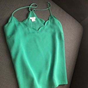 J Crew Scalloped Tank in Green